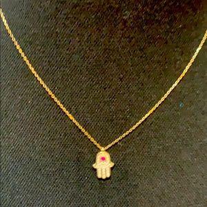 Jewelry - Hamsa Necklace with tiny diamonds and pink stone
